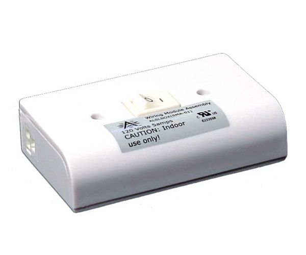 American Lighting ALSLBOX Xenon Puck Slim-Line Hardwire Box 120V with 2 Molex Outlets and On/Off Switch - White