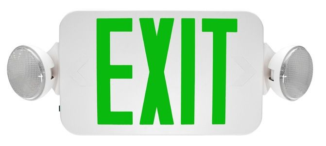 MaxLite EXC-GW Exit Sign and Frog Eye Emergency Combo Unit White Thermoplastic with Green Letters