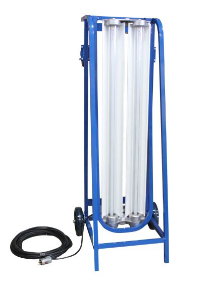 Main Image 4 Foot 2 Lamp 56 Watt Explosion Proof LED Paint Spray Booth T8 Style LED Tube Light Fixture on Dolly Cart with Wheels