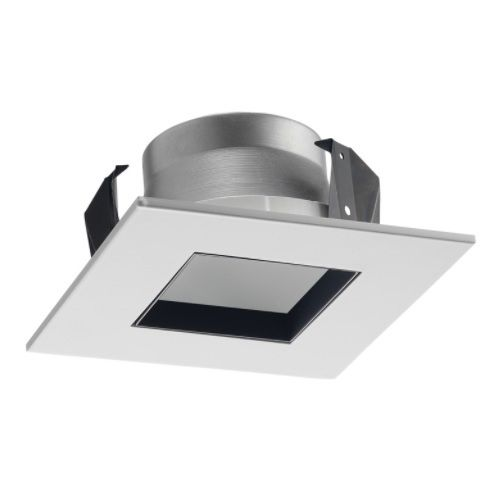 Juno Lighting 17SQ WWH 4-Inch Square Shower Recessed Trim, Clear Glass with White Trim