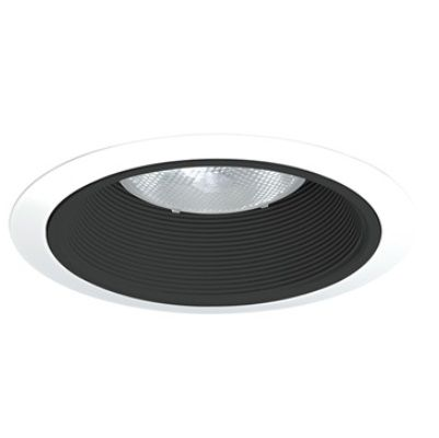 Juno Lighting 24 BWH 6 Inch Baffle Trim, Black Baffle with White Ring