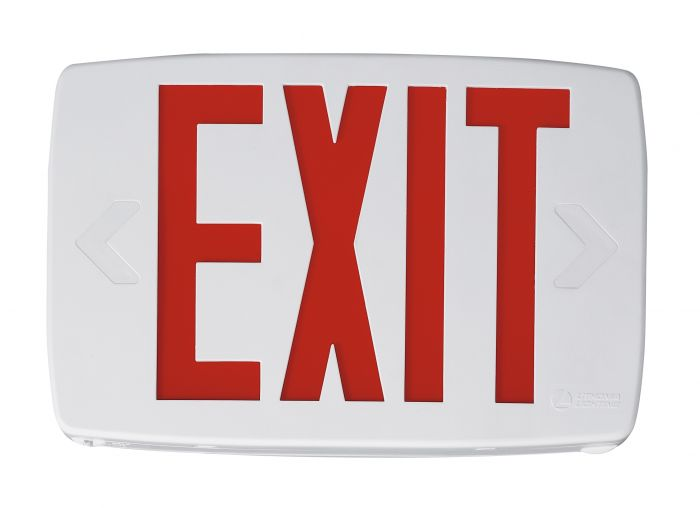 Lithonia Lighting LQM S W 3 R 120/277 EL N SD M6 Thermoplatic LED Exit Sign With Red Letters and Nickel Cadium Battery and Self Diagnostics