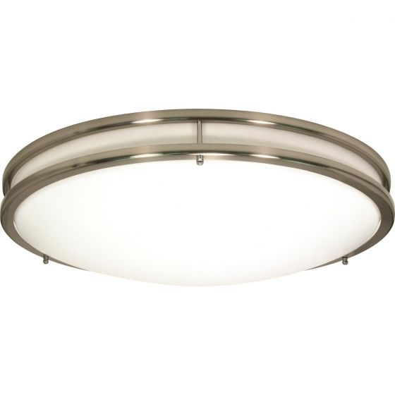 Satco Lighting 62-1035 18 Watt Glamour LED Flush Mount Dome Light Fixture with Brushed Nickel White Acrylic Dimmable 3000k