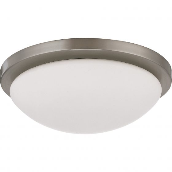Satco Lighting 62-1042 18 Watt LED Button Flush Mount Dome Light Fixture with Brushed Nickel White Glass Dimmable 3000k