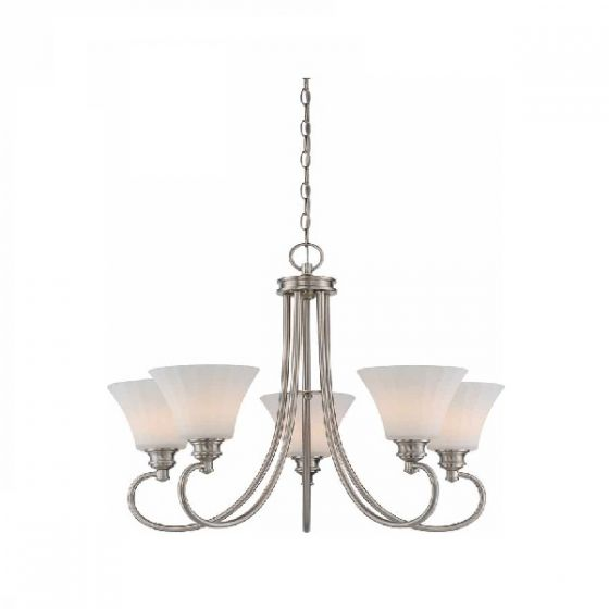 Satco Lighting 62-805 60 Watt Tess LED 5 Light Chandelier Light Fixture with Frosted Fluted Glass Brushed Nickel Dimmable 3000k