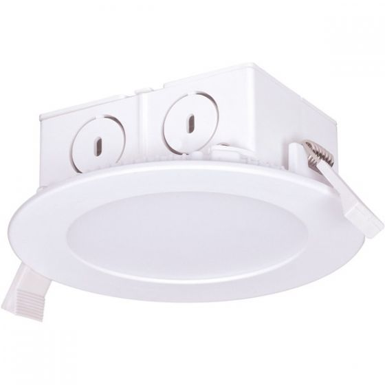 Satco Lighting S9057 8.5 Watt LED Direct Wire Downlight Edge-lit Light Fixture 120V Dimmable Frosted Finish 4000K