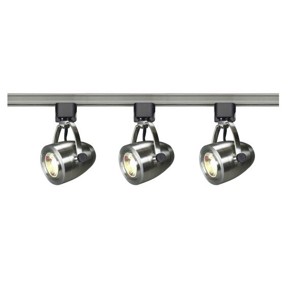 Satco Lighting TK417 12 Watt LED 3 Heads Pinch Back Track Lighting Kit 36 Degree Dimmable Brushed Nickel 3000K