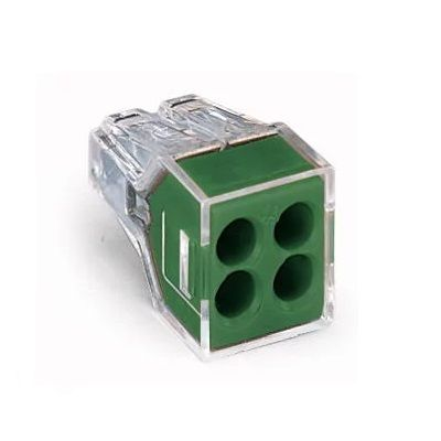 WAGO 773-114 WALL-NUTS 4 Conductor Push-Wire Green Cover Connector for Junction Boxes - 100 PCS