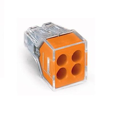 WAGO 773-164 WALL-NUTS 4-Conductor Push-Wire Orange Face Connector for Junction Boxes - 100 PCS