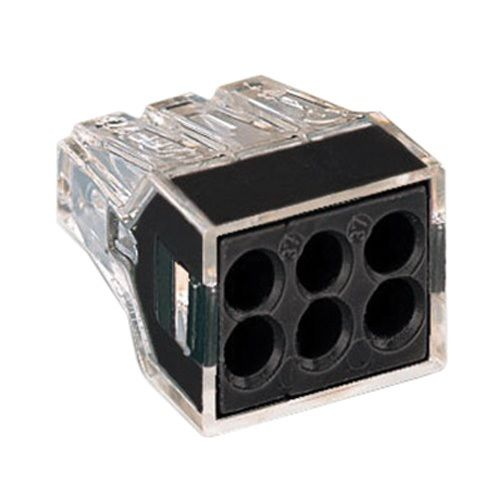 WAGO 773-166/VE00-2500 WALL-NUTS 6-Conductor Push-Wire Black Face Connector for Junction Boxes - 100 PCS