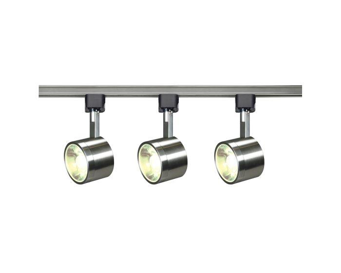 Satco Lighting Tk407 12 Watt Led 3 Heads Round Track Kit 36 Degree Brushed Nickel Dimmable 3000k