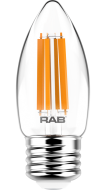 RAB Lighting B11-5-E26-927-F 5-Watt B11 Premium Filament Decorative Lamp 60W Incandescent Equivalent