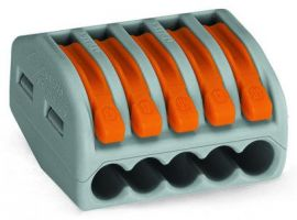 WAGO 51018107 Lever-Nuts Classic 5 Conductor Grey with Orange Levers - 5 PCS per Clam Shell
