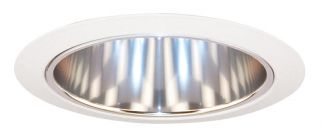 Juno Lighting 27 CWH 6 Inch Tapered Cone, Clear Alzak Cone with White Trim Ring