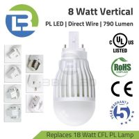 3BL-LED Series DLC Listed 8 Watt PL LED Vertical Direct Wire Lamp 100-277V Replaces 18W CFL