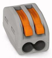WAGO 51194809 Lever-Nuts Classic 2 Conductor Grey with Orange Levers - 5 PCS per Clam Shell