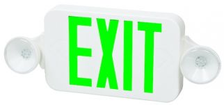 Fulham Lighting FHEC30WG Firehorse LED Emergency Exit Sign Frog Eye Combo Green Letters with Backup Battery