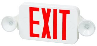 Fulham Lighting FHEC30WR Firehorse LED Emergency Exit Sign Frog Eye Combo Red Letters with Backup Battery