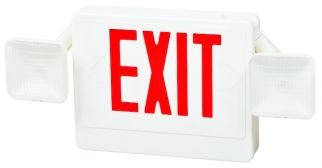 Fulham Lighting FHEC31WR Firehorse LED Emergency Exit Sign Frog Eye Combo Red Letters with Backup Battery