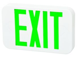Fulham Lighting FHEX20WGEM Firehorse LED Emergency Exit Sign with Battery Backup Green Letters