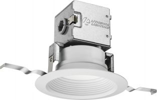 Lithonia Lighting 4JBK RD 30K 90CRI MW M6 4 Inch White Integrated Direct Wire LED Recessed Downlight Kit - Canless OneUp