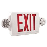 Main Image Lithonia Lighting LHQM-LED-R-M6 Two-Lamp Quantum LED White Exit Sign Emergency Combo Unit with LED Heads Red StencilLithonia Lighting LHQM-LED-R-M6 Two-Lamp Quantum LED White Exit Sign Emergency Frog Eyes Combo Unit