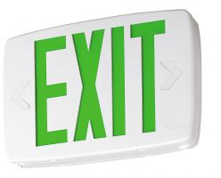 Lithonia Lighting LQM S W 3 G 120/277 EL N SD M6 Thermoplatic LED Exit Sign With Green Letters and Nickel Cadium Battery and Self Diagnostics