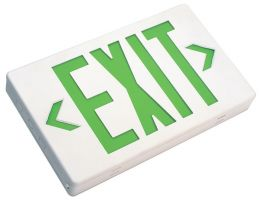 Mule Lighting MXAGU LED Exit Sign AC Only Thermoplastic Indoor Damp Location 120/277 Volt Green LED