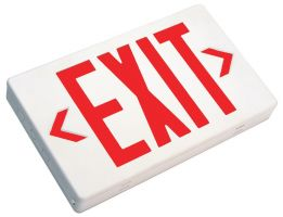 Mule Lighting MXBRU LED Exit Sign Battery Backed Thermoplastic Indoor Damp Location 120/277 Volt Red LED