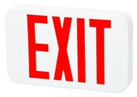 Fulham Lighting FHEX20WREM Firehorse LED Emergency Exit Sign with Battery Backup Red Letters