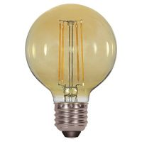 Satco Lighting S9584 4.5 Watt G25 Omni-directional LED Filament Light Bulb Transparent Amber Finish E26 Medium Base Dimmable 2200k