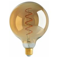 Satco Lighting S9969 4 Watt G40 Spiral LED Filament Light Bulb Transparent Amber Finish E26 Medium Base Dimmable 2200K