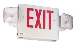 Mule Lighting SQGXU-REM Remote Capable Green LED Frog Eyes Combo Exit Sign Single or Double Face White Housing
