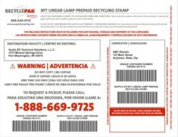 Veolia SUPPLY-278 RecyclePak 8 Ft Linear Lamp Prepaid Recycling Stamp Product