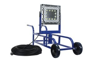 Main Image 150 Watt Portable Explosion Proof LED Tank Light with Wheelbarrow Cart and 250 Foot Cord 120-277V 5600K