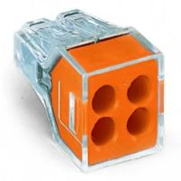 WAGO 773-104/VE00-2500 WALL-NUTS 4-Conductor Push-Wire Orange Face Connector for Junction Boxes - 2500pc Bulk Box
