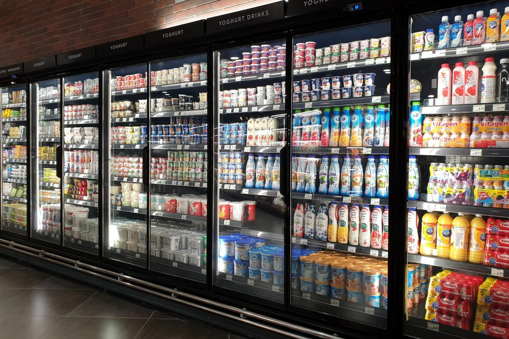led commercial refrigeration system in a grocery store