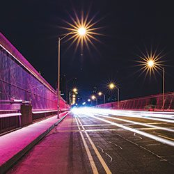 LED Pole Lights on a bridge